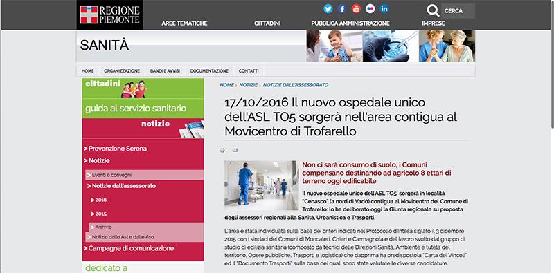 Il nuovo ospedale unico dell'Asl TO5 sorgerà nell'area contigua al Movicentro di Trofarello