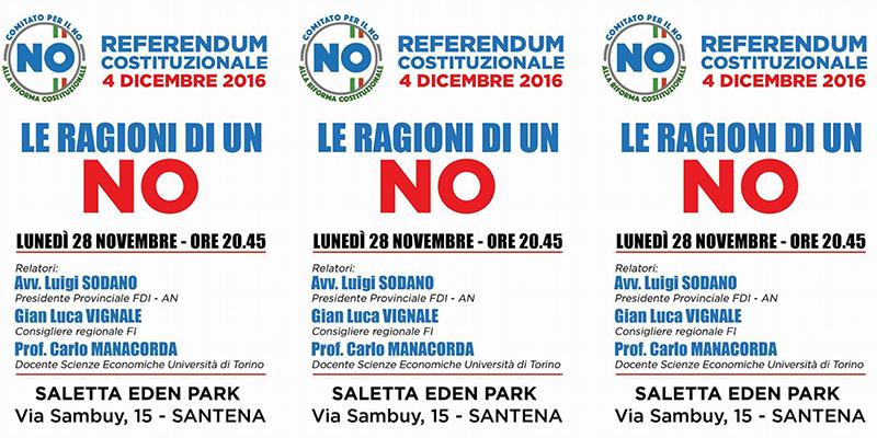 Santena, referendum Costituzionale, le ragioni di un NO