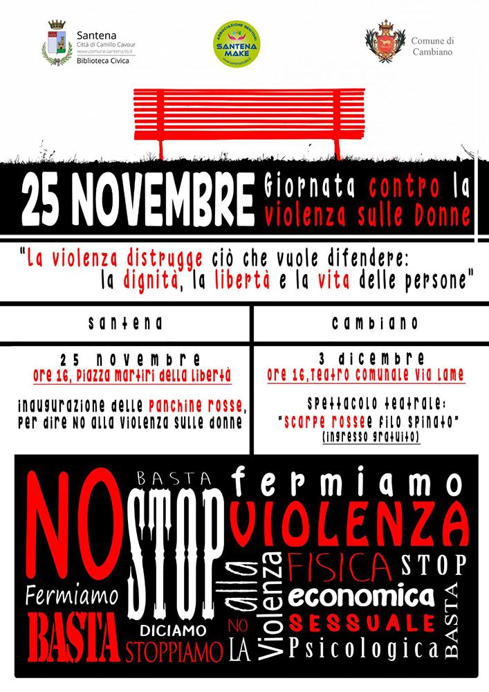 santena 25 novembre giornata contro la violenza sulle donne in piazza arrivano due panchine rosse rossosantena rossosantena